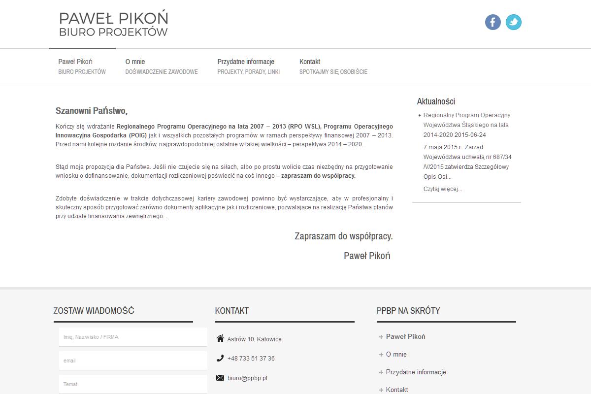 Strona internetowa -Paweł Pikoń Biuro Projektów